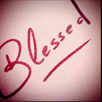Blessed handwritten in red ped
